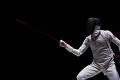 在国际操刀的比赛圣彼德堡箔期间的阿尔图尔Akhmatkhuzin 2015年 库存照片