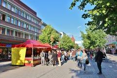 在国际街市上的肉菜饭Espanol 库存照片