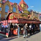 在国际街市上的英国乳脂软糖 库存照片