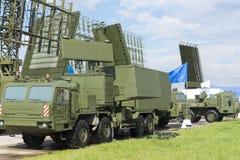 在国际陈列的军用雷达机器 库存图片