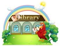 在图书馆前面的红色鹦鹉读书 库存例证