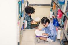 在图书馆地板上的两个男孩读书 免版税库存照片