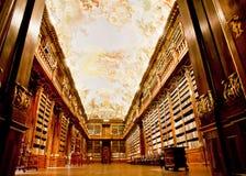 在图书馆的老架子的书 库存图片