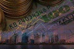 在图形设计的股市或物产investmen与citysc 库存照片