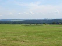 在图林根州的全景草原风景 免版税图库摄影