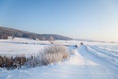 在图林根州的田园诗冬天风景 库存图片