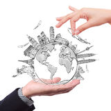 在图画梦想旅行世界范围内 免版税库存照片