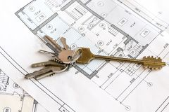 在图画的公寓钥匙,公寓计划,村庄 免版税库存照片