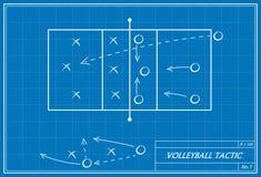 在图纸的排球战术 免版税库存图片