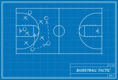 在图纸的篮球战术 免版税库存图片