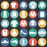 在图表和网络设计的色环背景设置的衣物象 简单的传染媒介标志 互联网概念标志 皇族释放例证