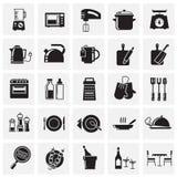 在图表和网络设计的,现代简单的传染媒介标志正方形背景设置的厨房象 背景蓝色颜色概念互联网 时髦标志为 皇族释放例证