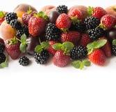 在图象边界的黑和红色食物与拷贝空间的文本的 成熟黑莓、草莓、李子和桃子在白色backgr 免版税库存照片