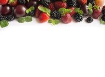 在图象边界的黑和红色食物与拷贝空间的文本的 成熟黑莓、草莓和李子在白色背景 顶层 免版税图库摄影