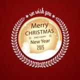 在圆徽章的圣诞快乐愿望 皇族释放例证