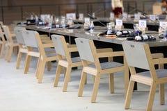 在圆桌会议讨论的咖啡休息在第4个圣彼德堡国际文化论坛期间 免版税库存图片