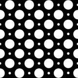 在圆点的无缝的几何样式在黑背景 免版税库存照片