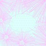 在圆点背景隔绝的桃红色花框架。 免版税库存图片