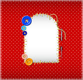 在圆点织品的被缝的补丁 免版税图库摄影