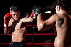 在圆环的拳击手和教练训练 库存图片