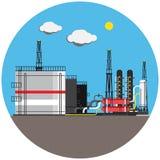 在圆的五颜六色的工厂图片 免版税库存照片