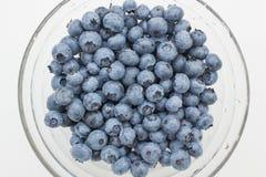 在圆的板材的新鲜的蓝莓 免版税库存图片