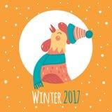 在圆的框架的动画片雄鸡 冬天2017年 库存照片
