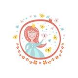 在圆的框架的被加冠的童话公主字符娘儿们贴纸 库存照片