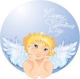 在圆的框架的逗人喜爱的天使。 库存例证