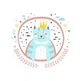 在圆的框架的Cat国王童话字符娘儿们贴纸 库存例证