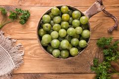 在圆的碗的成熟绿色西红柿品种 库存图片