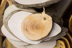 在圆的稀薄的片断切开的木日志 库存图片