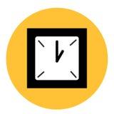 在圆的黄色背景的黑白时钟 库存照片