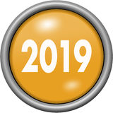 在圆的3D按钮的橙色设计年2019年 库存图片