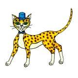 在圆筒帽子和蝶形领结的手拉的猎豹 库存照片