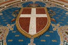 在圆顶场所维托里奥描述米拉的Emanuele地板上的马赛克  库存照片