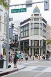 在圈地驱动洛杉矶美国的著名商店地区 图库摄影