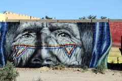 在圈地驱动的大厦艺术在Puerto Penasco,墨西哥 库存图片
