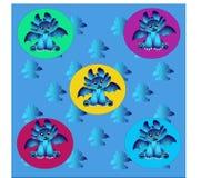 在圈子例证的蓝色龙 库存照片