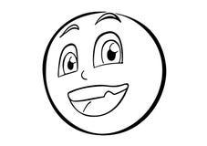 在圈子内的象动画片的微笑的面孔 免版税库存图片