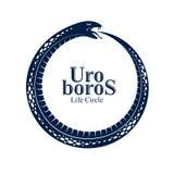 在圈子形状的不尽的周期生与死,古老Uroboros标志传染媒介例证,蛇吃的Ouroboros蛇 皇族释放例证