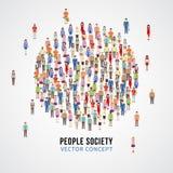 在圈子形状的大人人群 社会,人社区传染媒介概念 库存图片