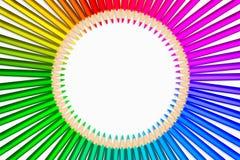 在圈子显示的颜色铅笔 免版税图库摄影