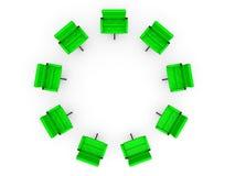在圈子的八把办公室椅子 免版税库存图片