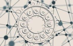 在圈子的占星术标志 免版税库存照片