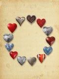 在圈子的各种各样的金属心脏 图库摄影