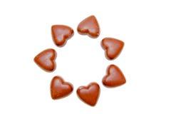 在圈子的巧克力心脏 图库摄影