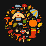 在圈子的手拉的秋天秋天标志 免版税库存图片