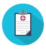 在圈子的医疗剪贴板象 免版税库存照片