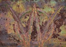 在圈子纹理的脏的生锈的W 图库摄影